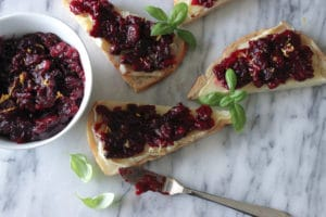 Roasted Balsamic Cranberries with Brie Crostini