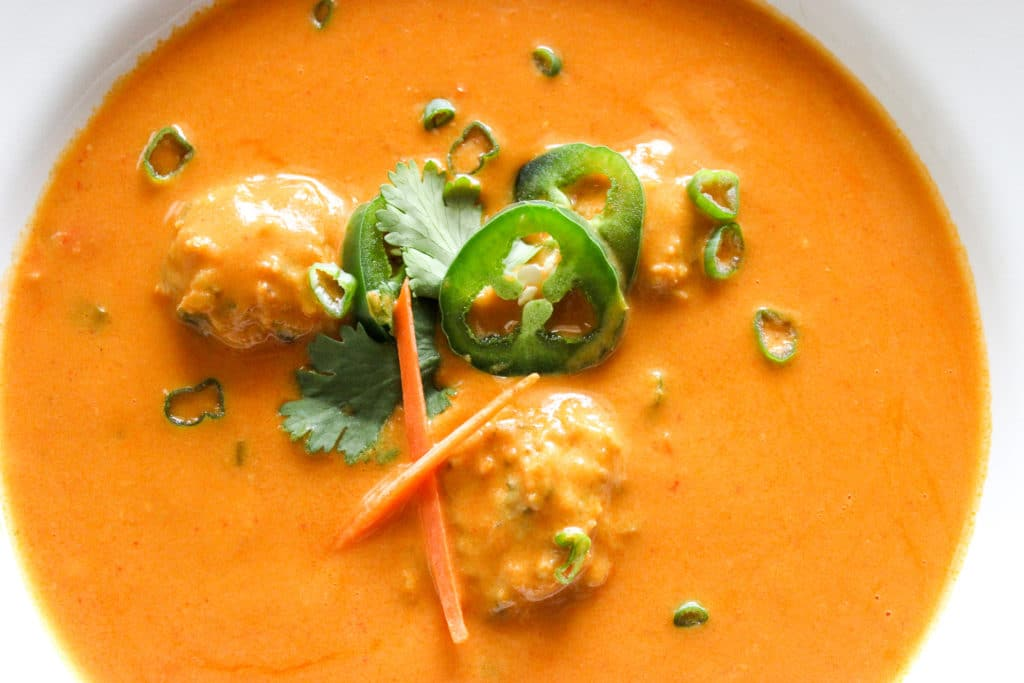 Coconut Curry Butternut Squash Soup with Thai Chicken Meatballs