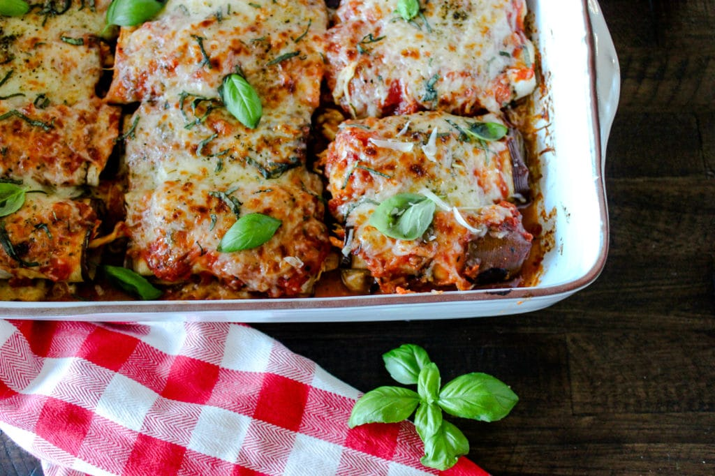 Low Carb Chicken & Eggplant Roll Up's