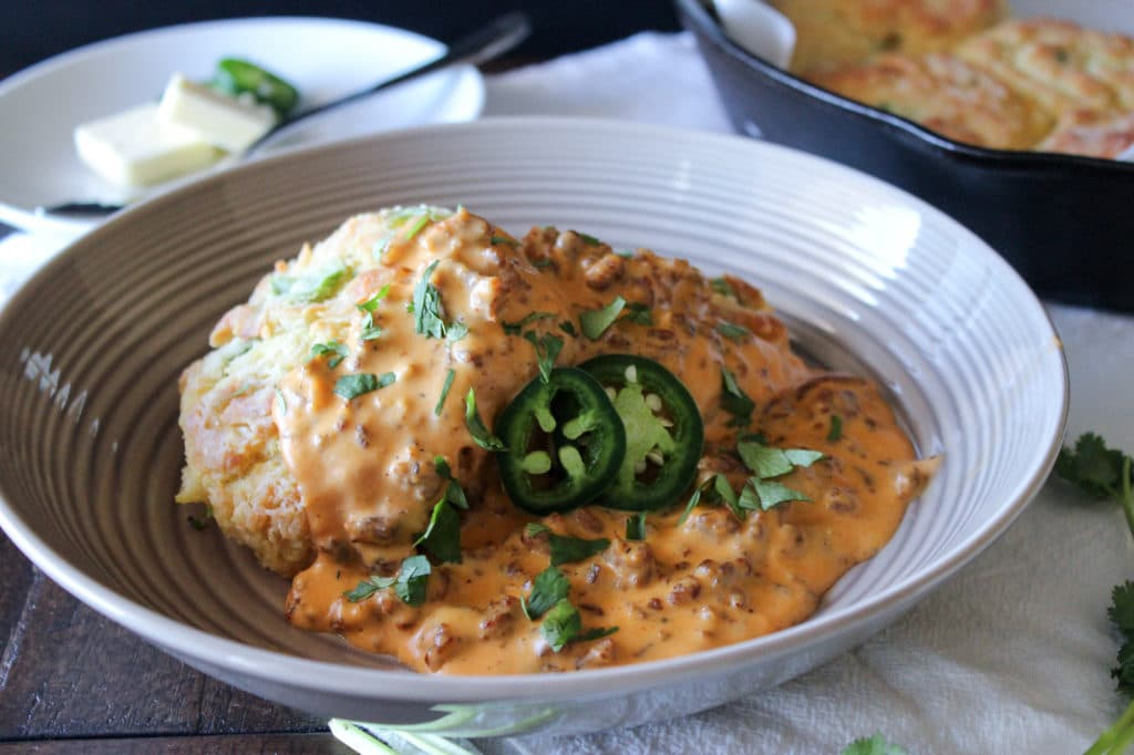 jalapeno cheddar biscuits with chorizo sausage gravy