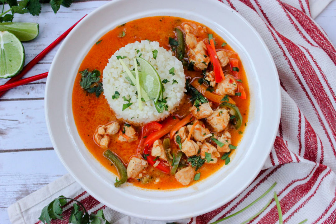 Spicy Coconut Chicken Curry with Cauliflower Rice