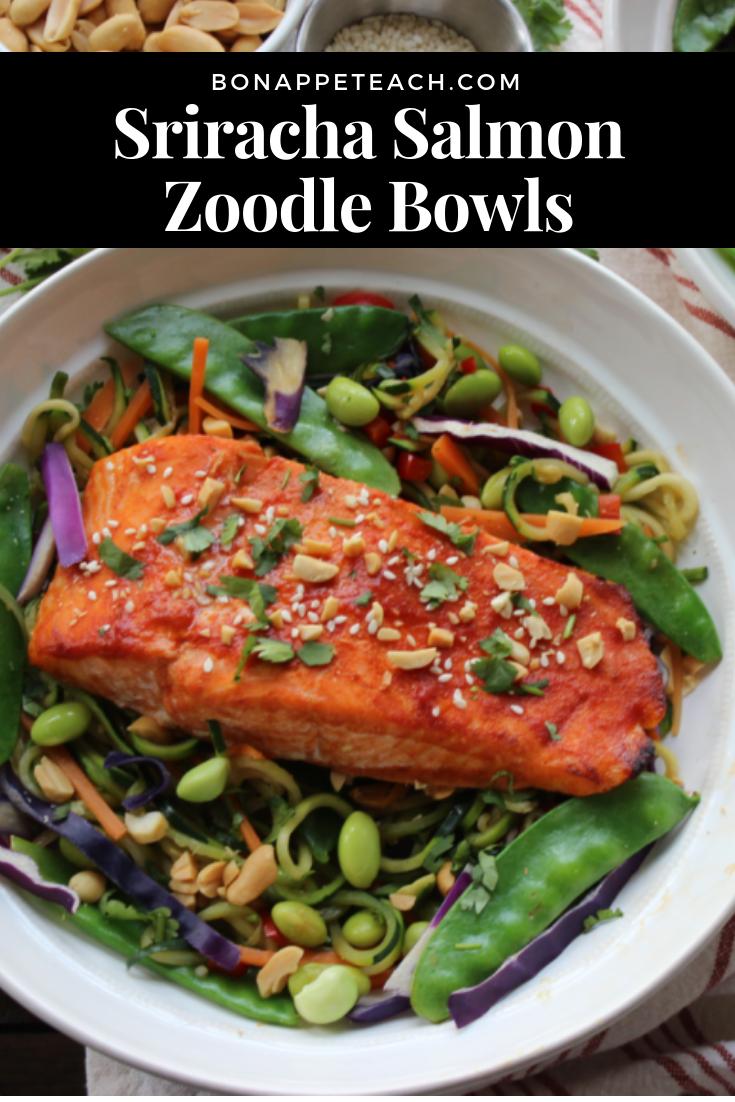 Sriracha Salmon Zoodle Bowls