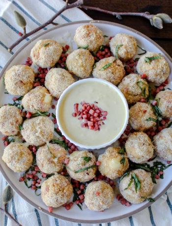 Chicken Cordon Bleu Meatballs with Dijon Sauce
