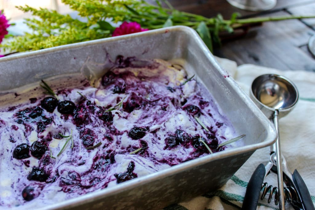 (Low Carb) Blueberry & Rosemary Ricotta Ice Cream