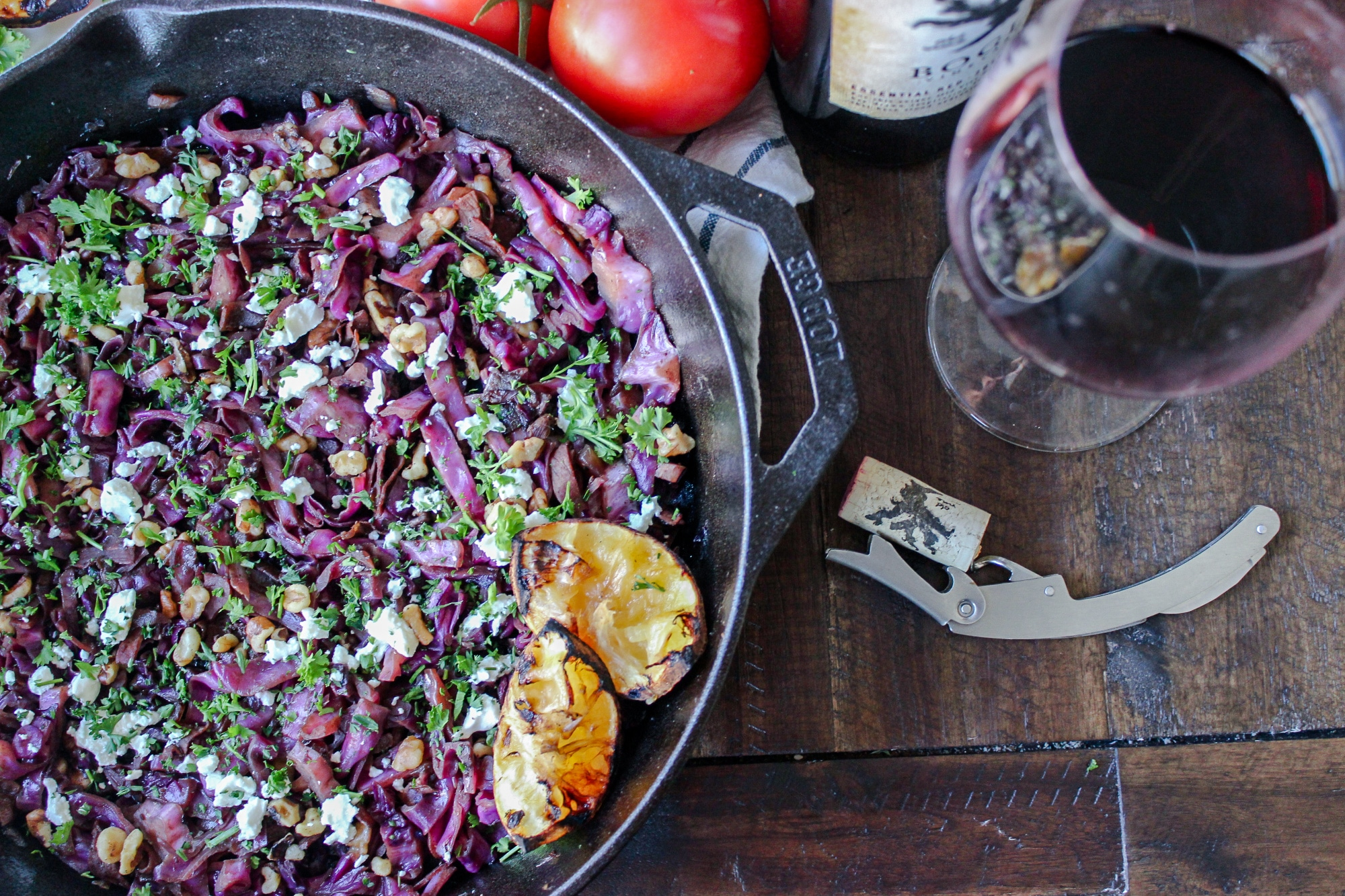 Braised Red Cabbage with Prosciutto and Goat Cheese