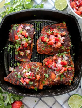 Blackened BBQ Salmon with Strawberry Salsa