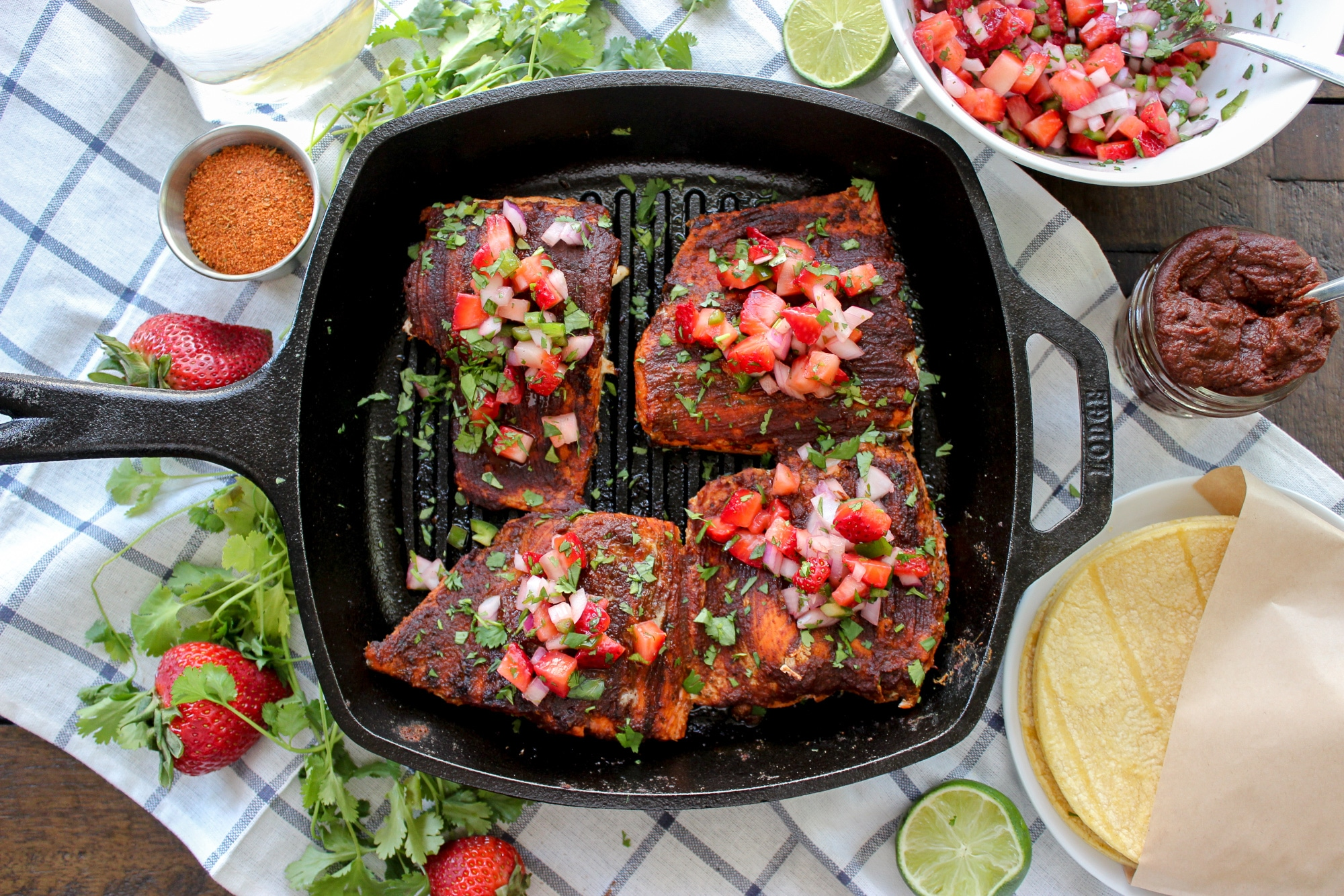 Blackened BBQ Salmon with Strawberry Salsa