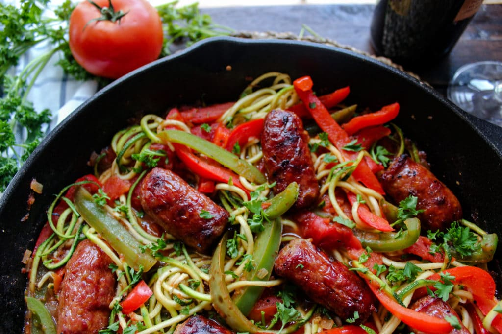 Grilled Sausage and Peppers with Zoodles
