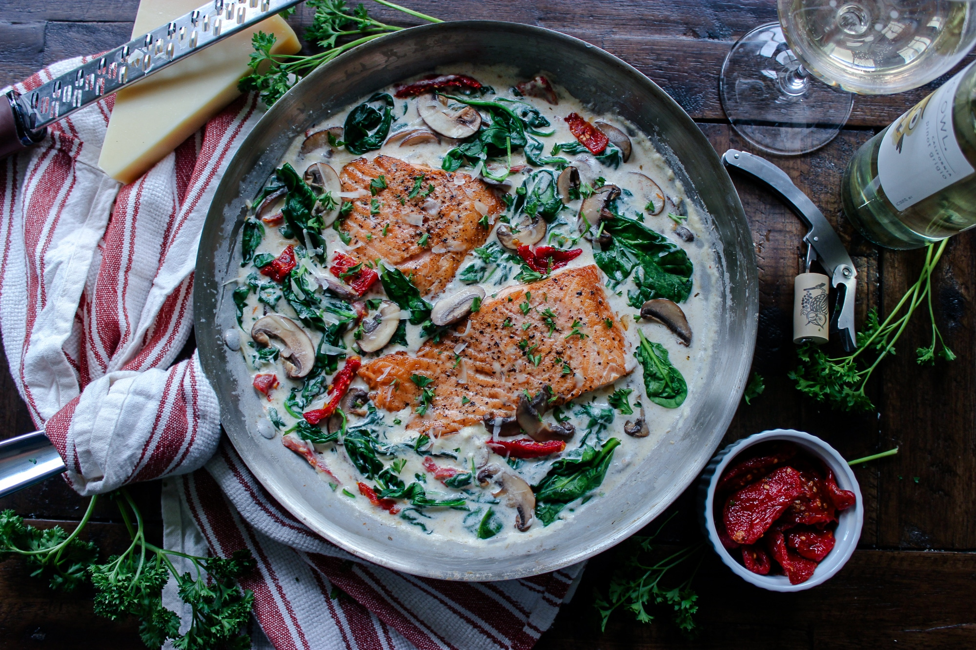 One Pan Keto Tuscan Salmon