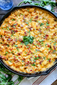 Grilled Cauliflower Bacon Mac and Cheese