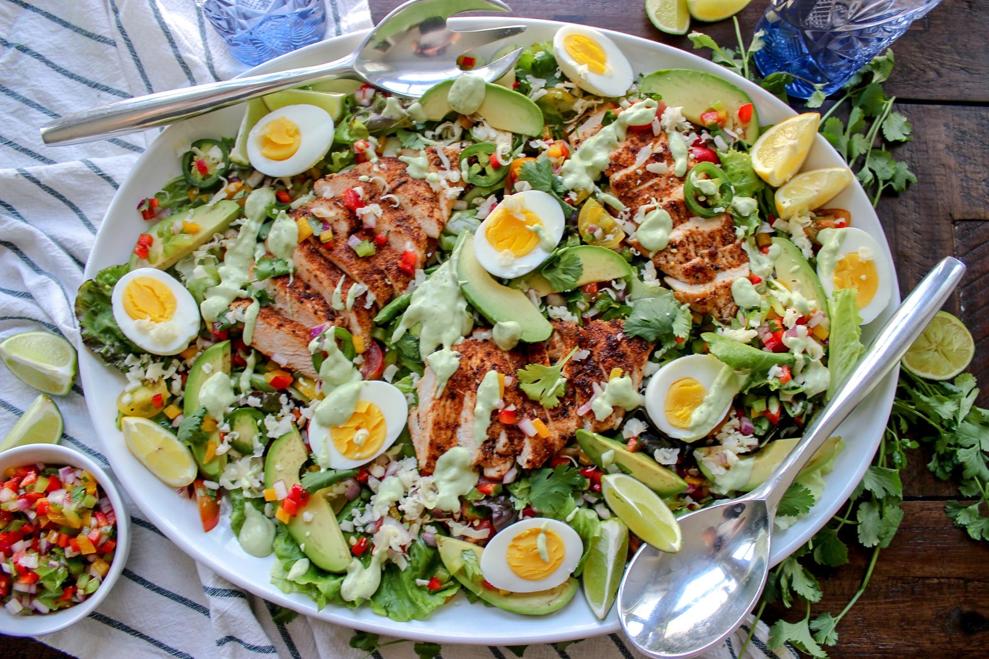 Southwestern Fiesta Salad With Avocado Dressing