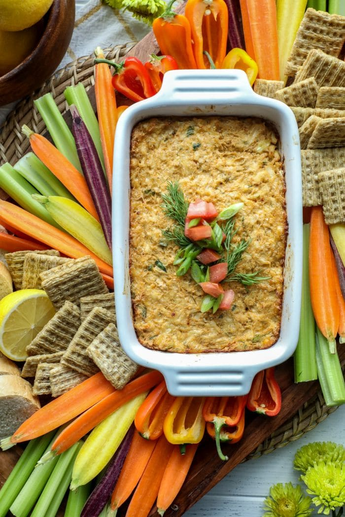 Easy Smoked Crab Dip on a platter with veggies