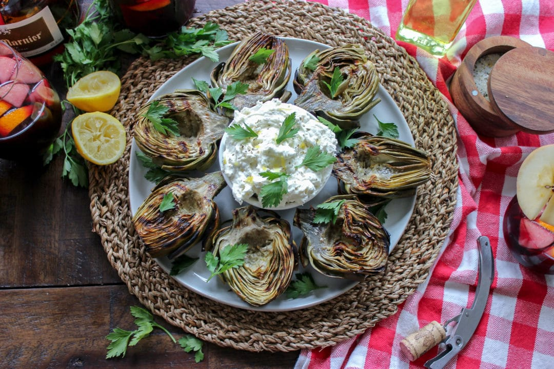Grilled Artichokes with Whipped Feta