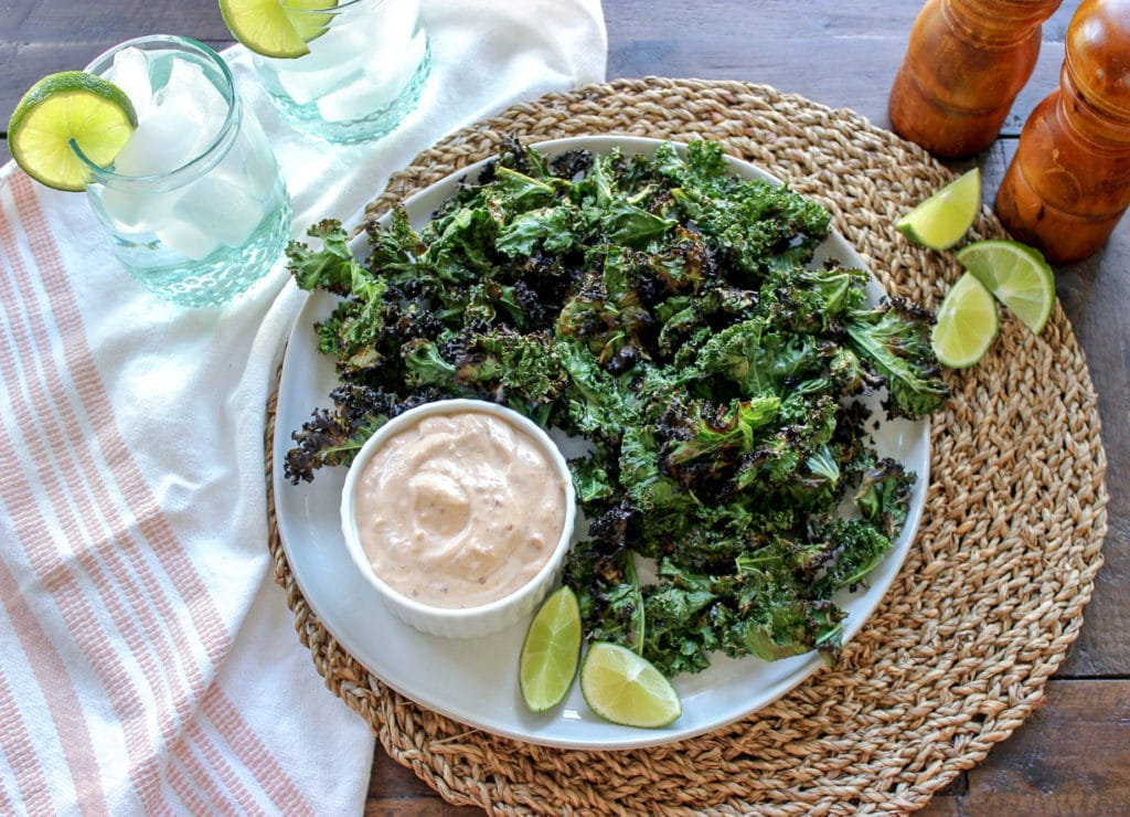 Grilled Kale Chips and Chipotle Mayo