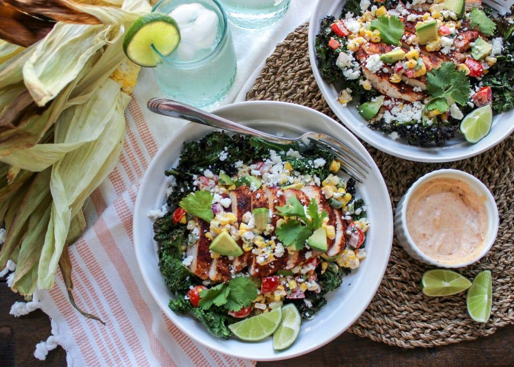 Crispy Kale Chip Salad with Grilled Corn Salsa