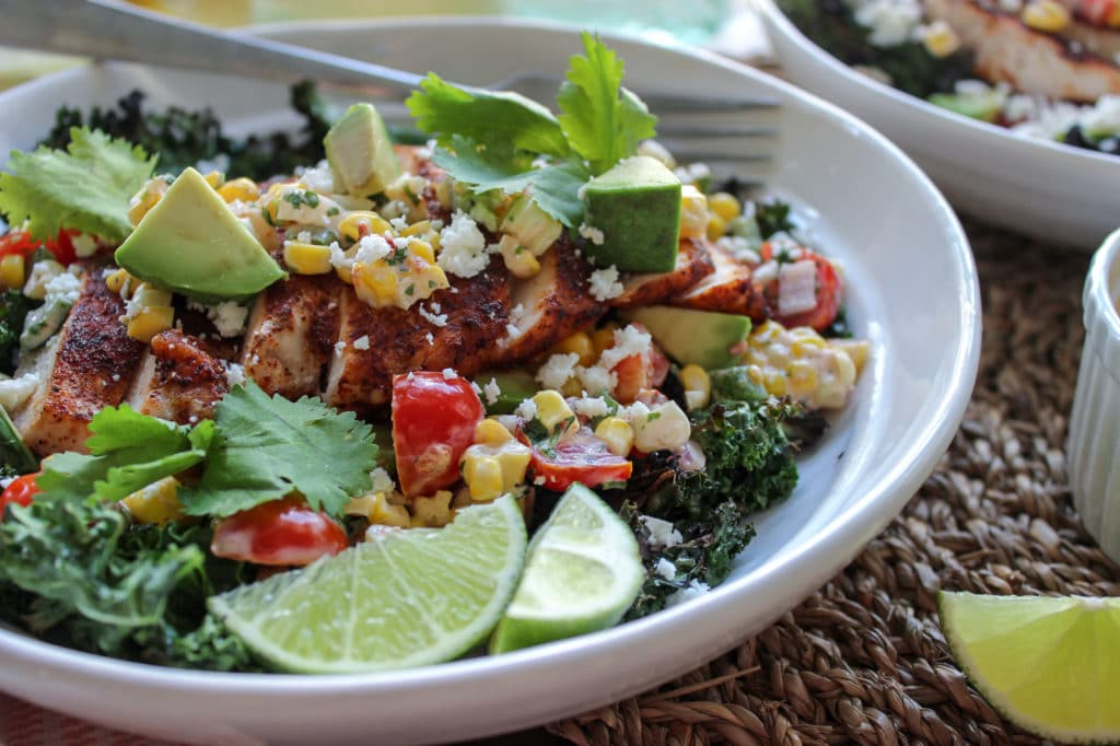 Crispy Kale Chip Salad with Grilled Corn Salsa
