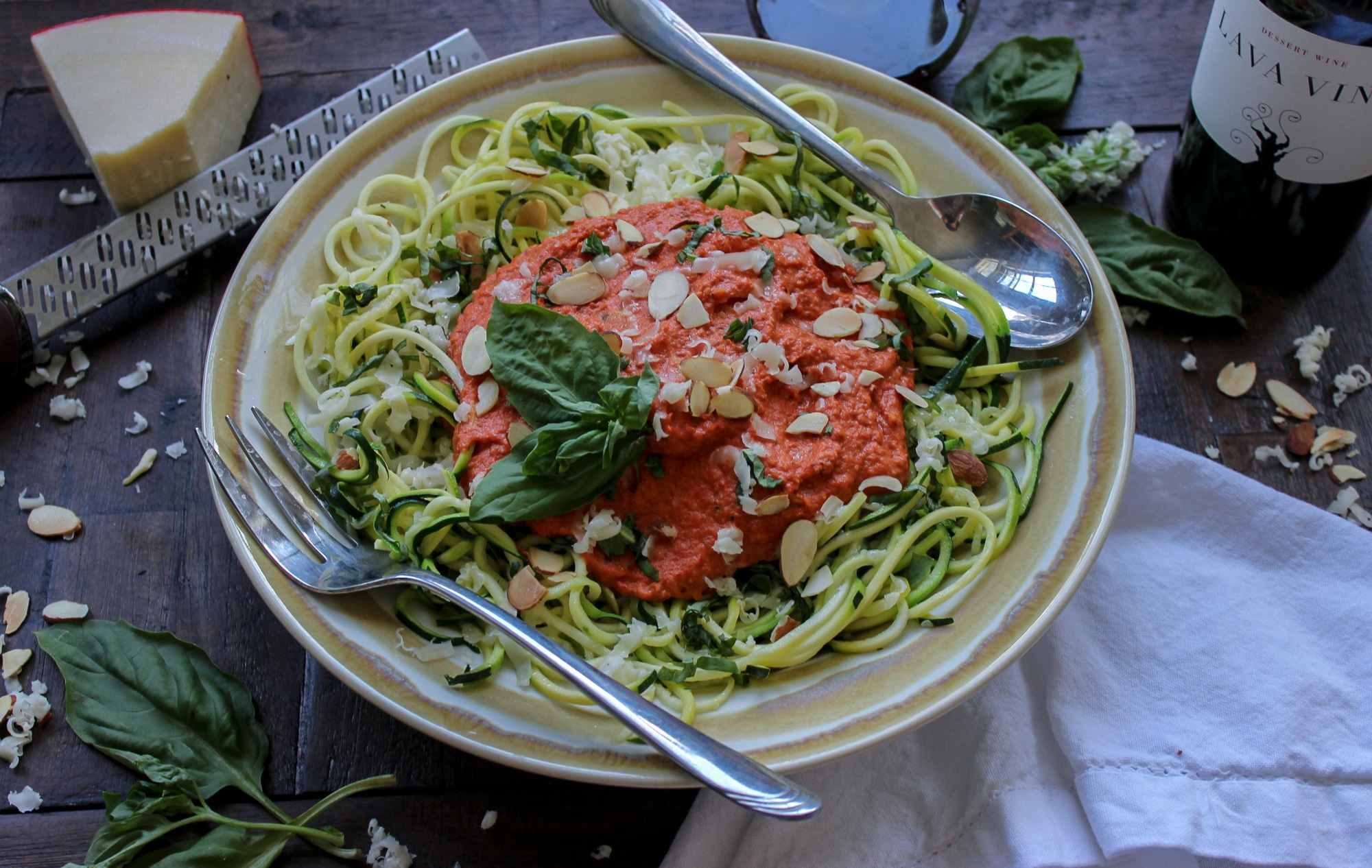 Low Carb Romesco Sauce with Zoodles