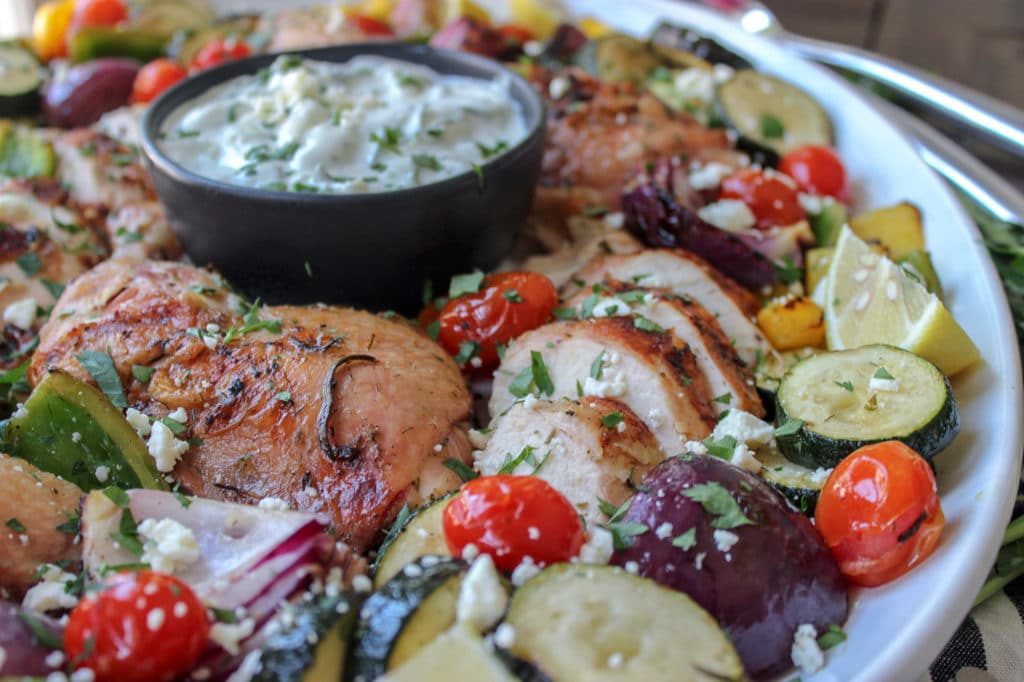 Grilled Greek Chicken with Marinated Kebabs and Tzatziki