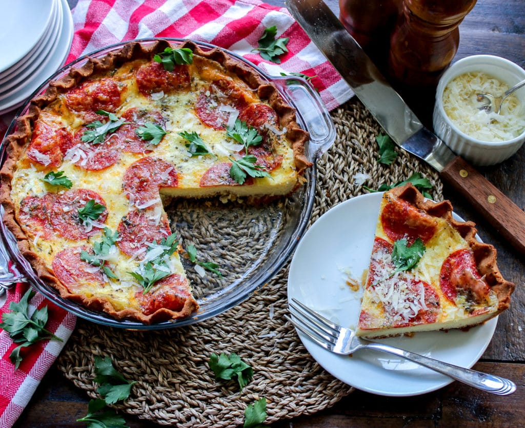 Keto Pepperoni Pizza Quiche