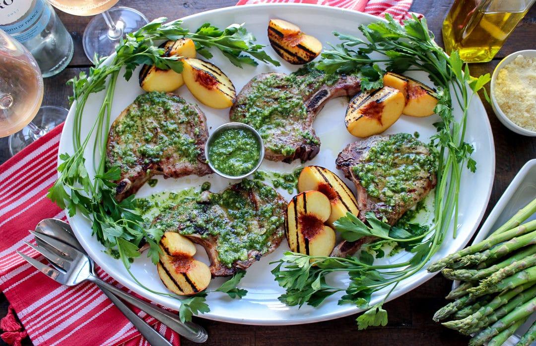 Kale Pesto Grilled Pork Chops