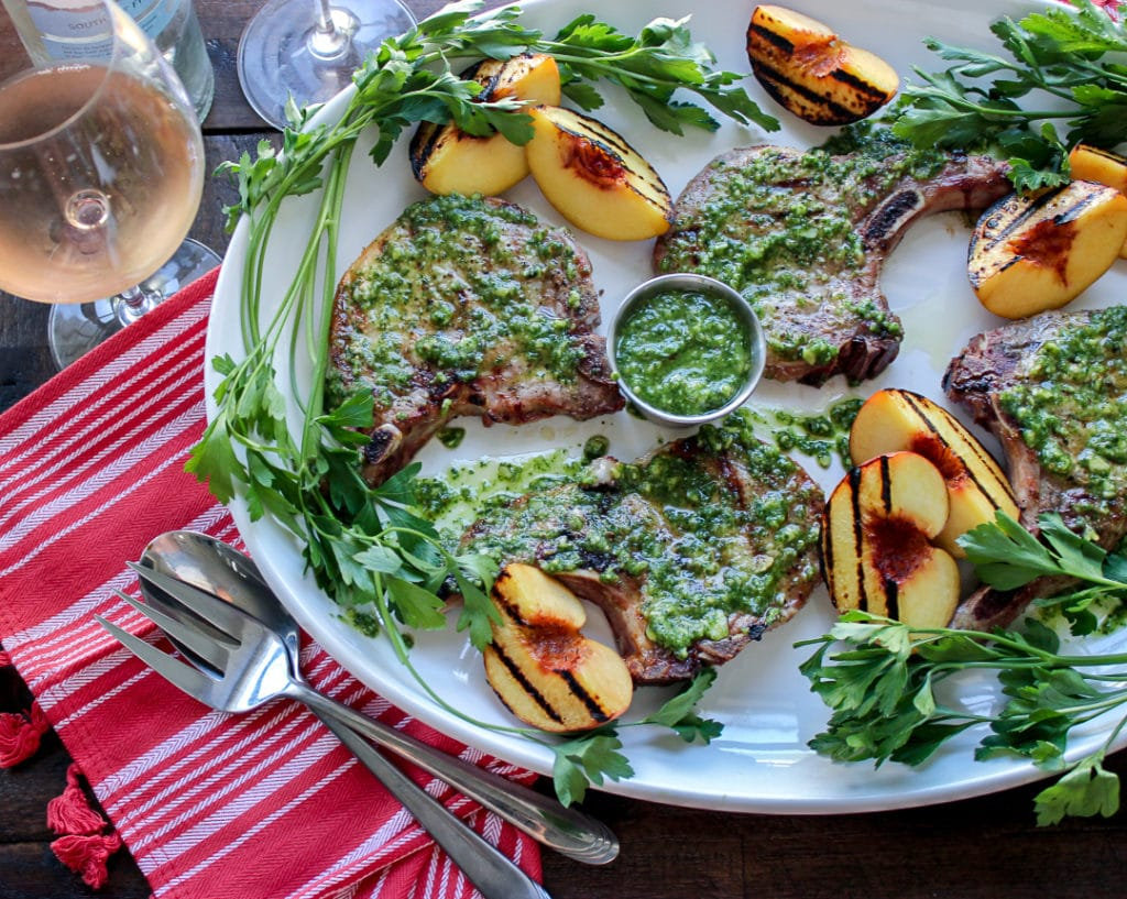 Kale Pesto Grilled Pork Chops