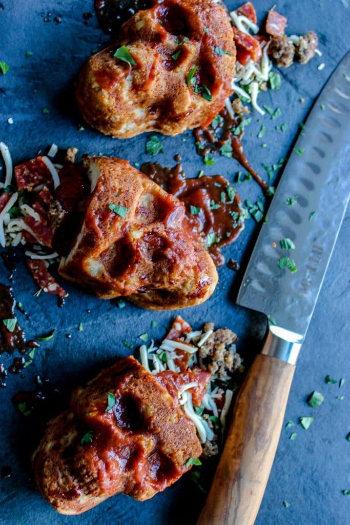 pizza stuffed corn muffins that look like skulls