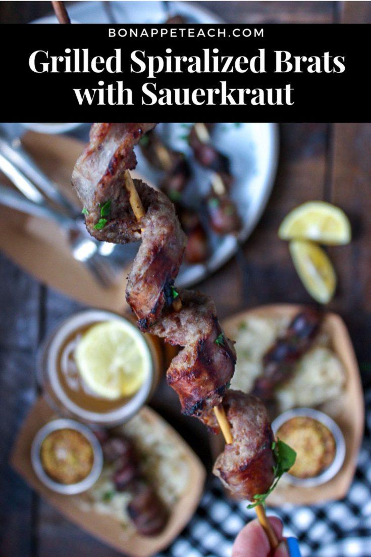 Grilled Spiralized Brats with Sauerkraut