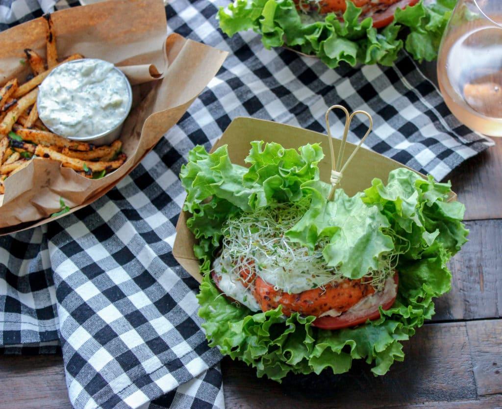 Grilled Cedar Plank Salmon Burgers