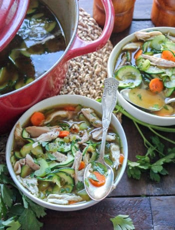 Grilled Chicken Zoodle Soup