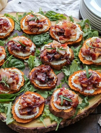 Sweet Potato Canapes with Goat Cheese, Bacon and Caramelized Onion