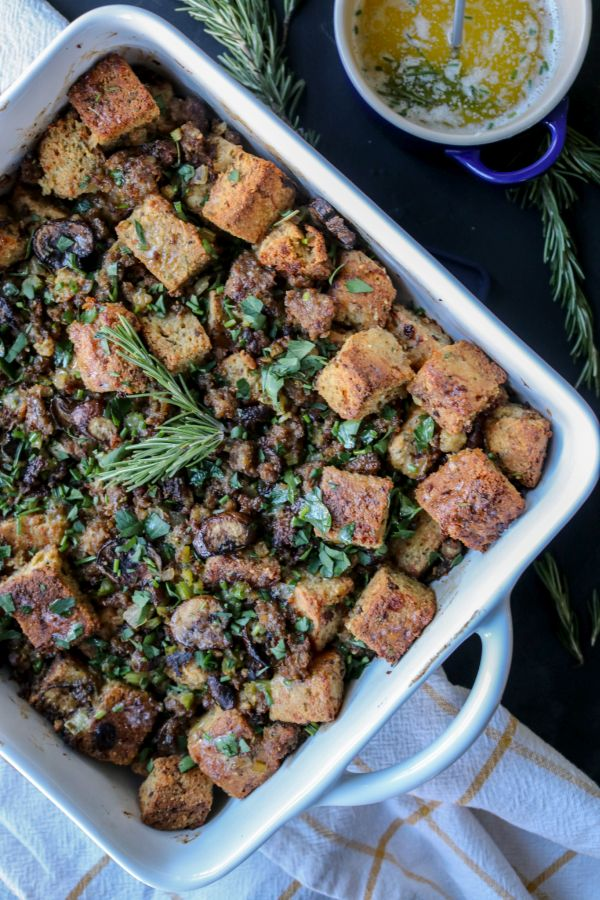 Keto Cornbread Stuffing with Herb Butter