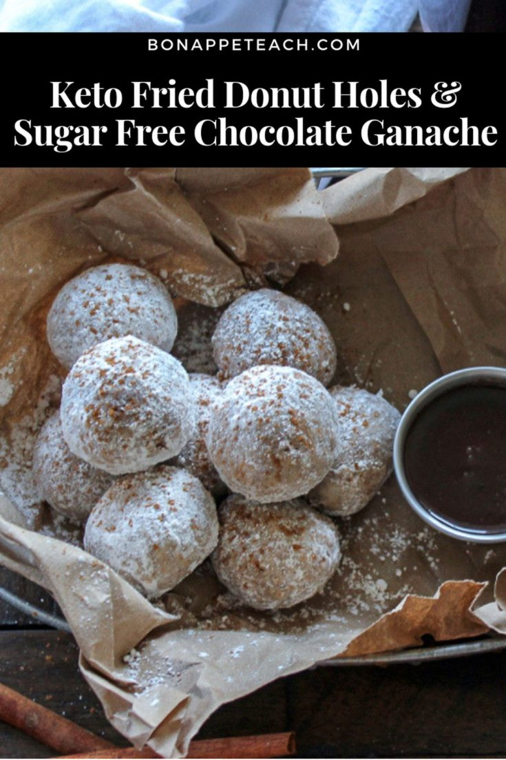 Keto Fried Donut Holes with Sugar Free Chocolate Ganache