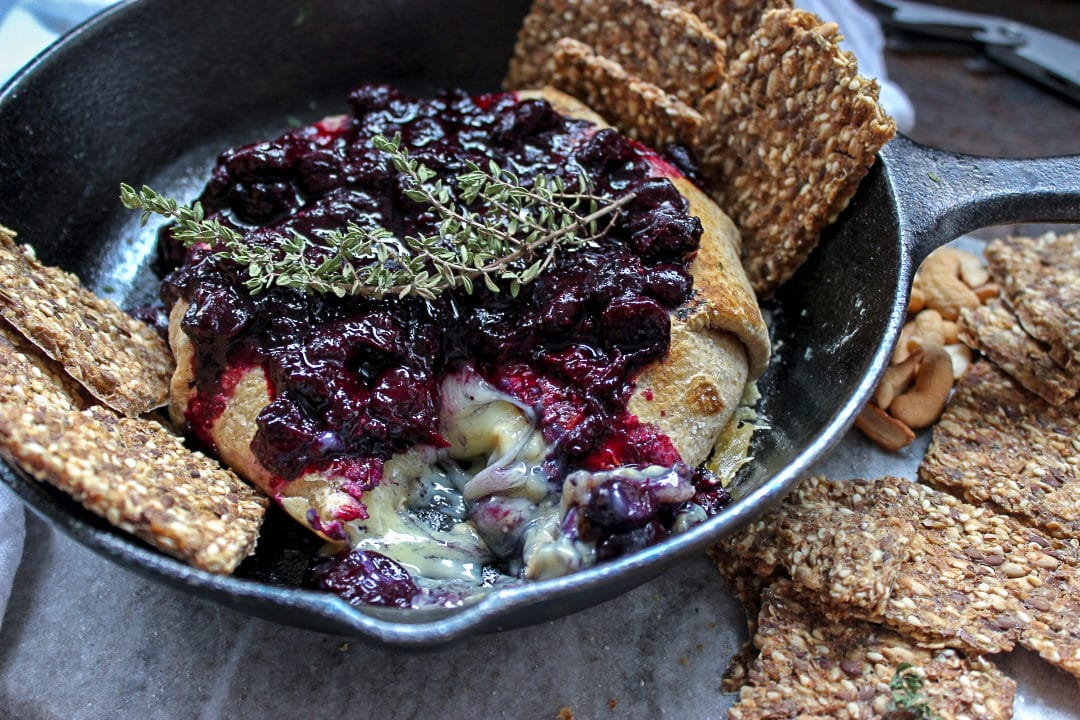 Easy Grilled Brie with Blueberry Compote