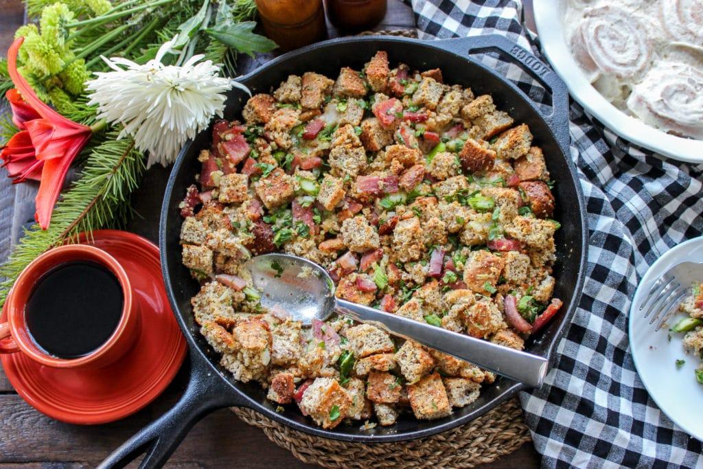 Keto Cornbread Ham & Asparagus Strata