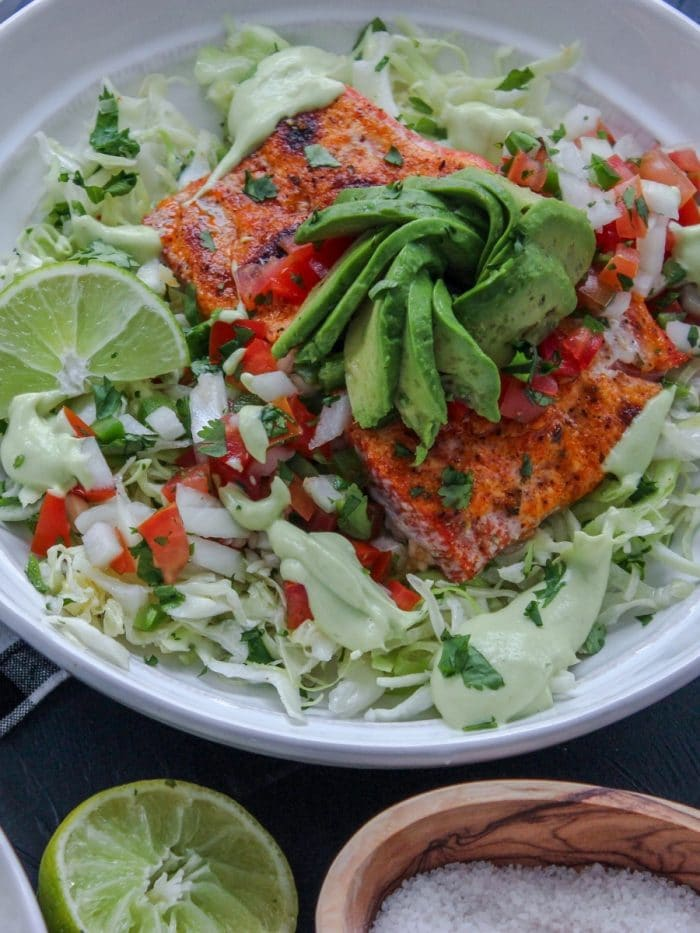 Deconstructed Salmon Fish Taco Bowls