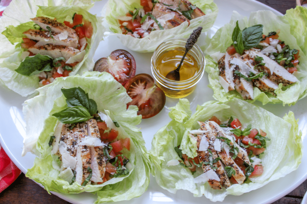 Bruschetta Chicken Lettuce Cups