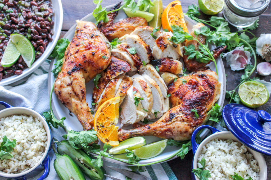 A platter of low carb Mojo chicken.