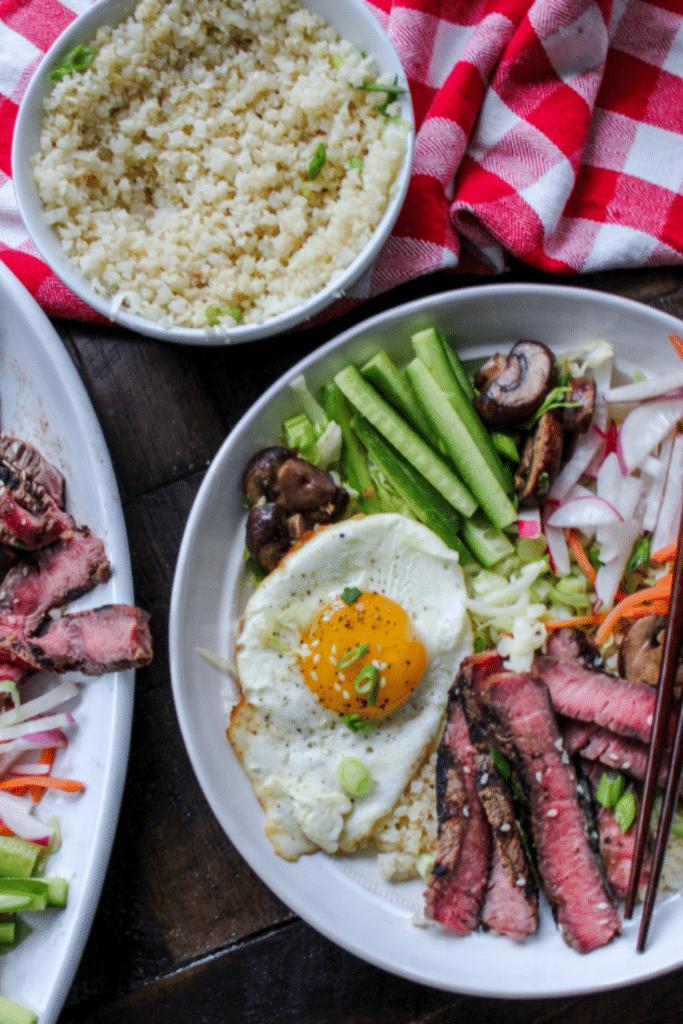 Steak Bibimbap Cauliflower Rice Bowls