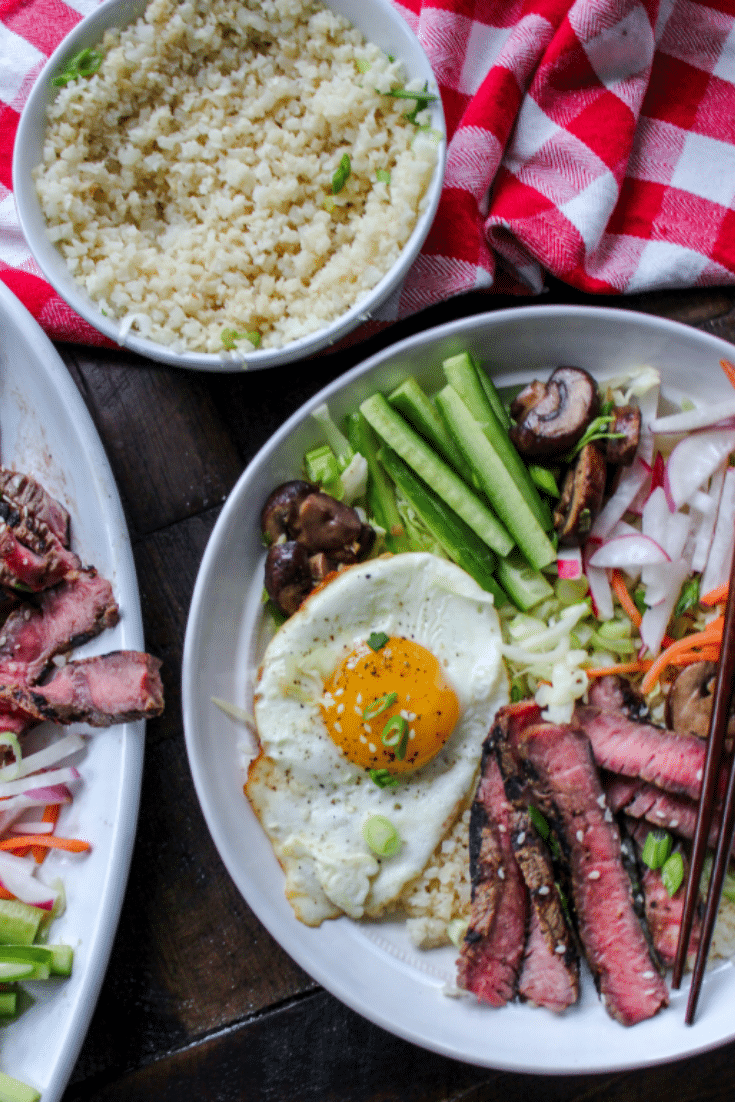 Steak Bibimbap Cauliflower Rice Bowls