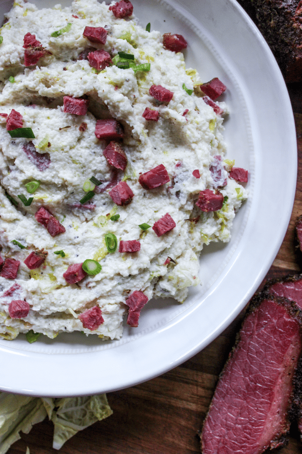 Smoked Colcannon Inspired Cauliflower Mash