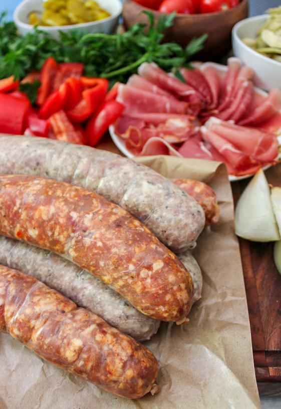 Grilled Sausage Antipasto Style Kebabs