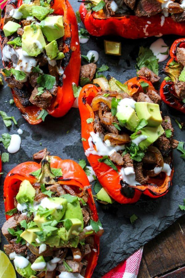 Carne Asada Fire Roasted Stuffed Peppers