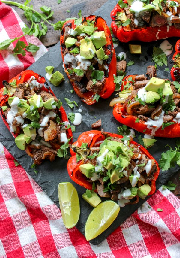 Carne Asada Fire Roasted Stuffed Peppers
