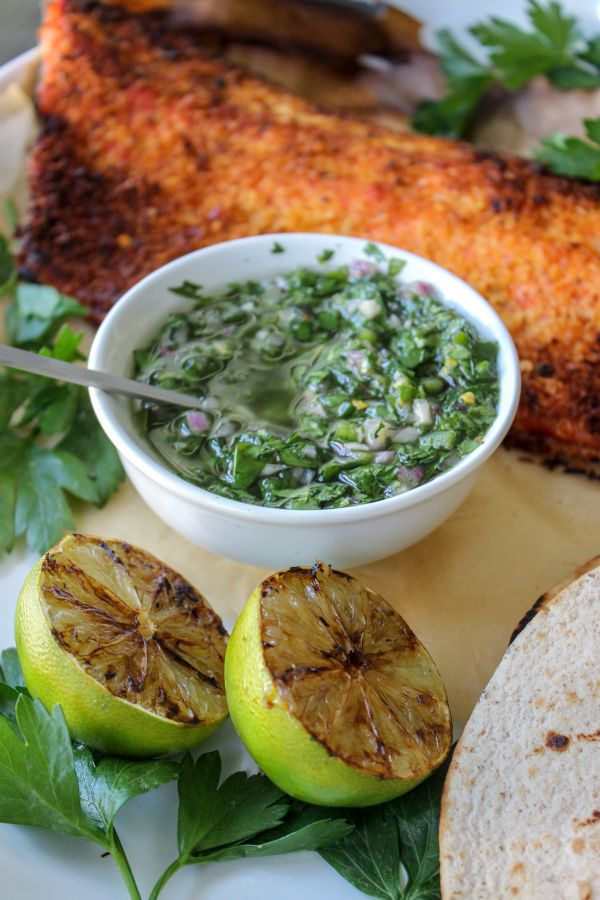 Coconut Crusted Salmon with Chimichurri
