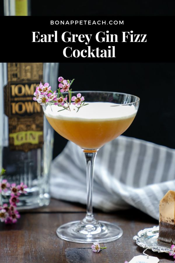 Earl Grey Gin Fizz Cocktail