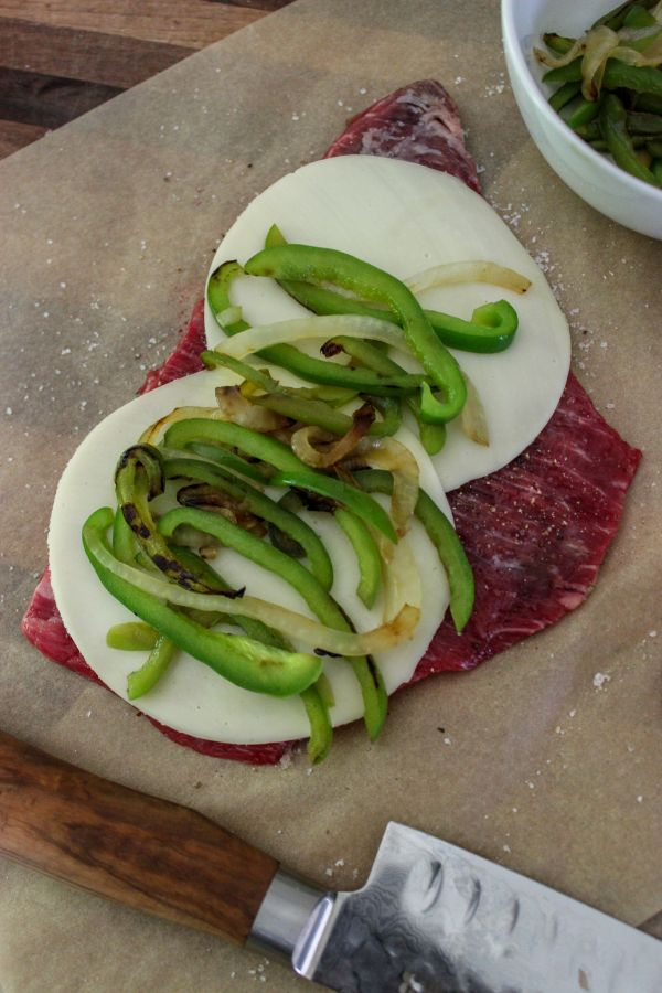 Keto Peppers and Provolone Flank Steak Pinwheels