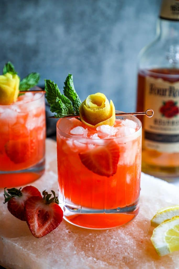 Strawberry Lemonade Keto Whiskey Smash in a rocks glass