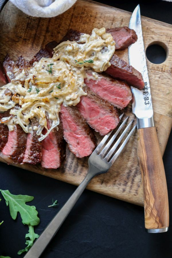 Ribeye steak with Caramelized Onion and Blue Cheese Steak Sauce