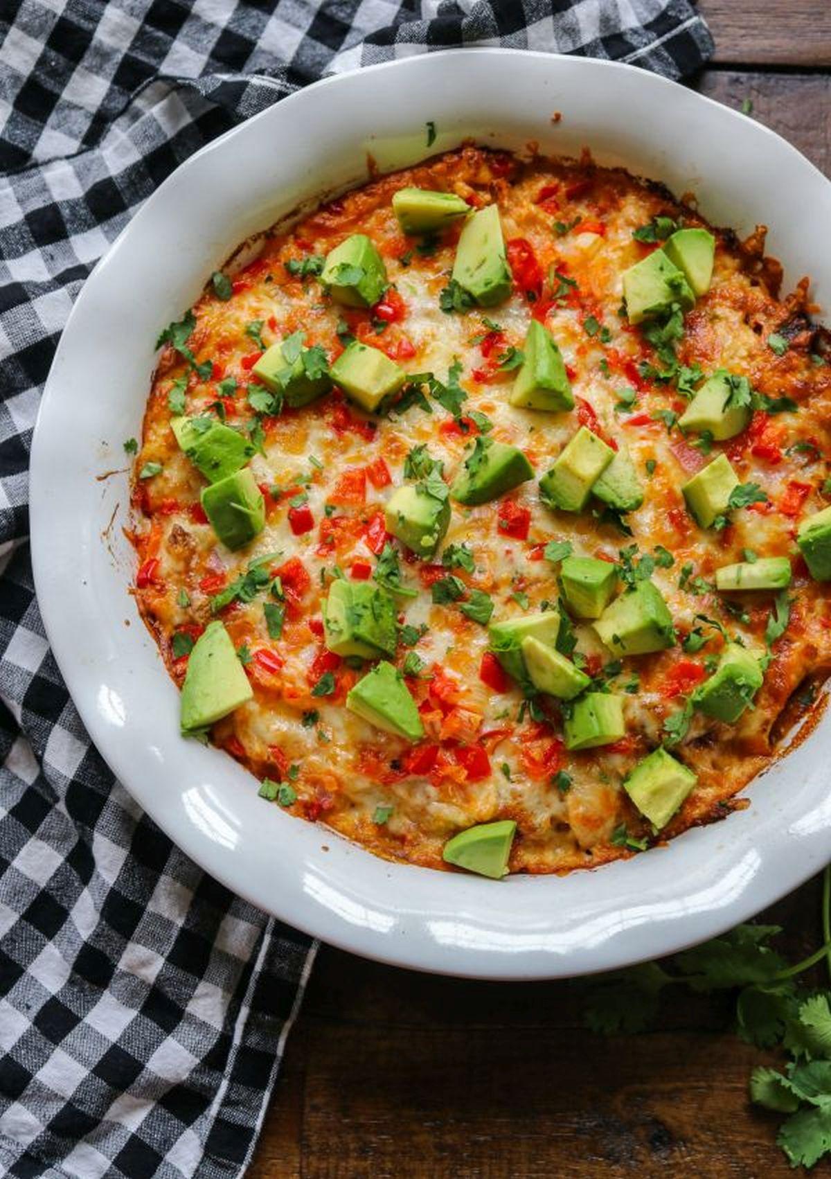 Easy Keto BBQ Chicken Casserole with avocados and cilantro