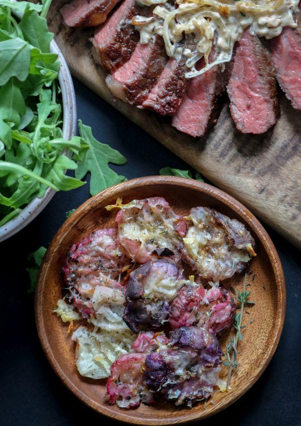 Keto roasted radishes with steak